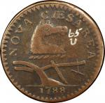 1788 New Jersey copper. Maris 65-u. Rarity-4. Horses Head Right. VF-30 (PCGS).