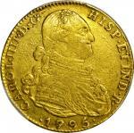 COLOMBIA. 1795-JJ 4 Escudos. Santa Fe de Nuevo Reino (Bogotá) mint. Carlos IV (1788-1808). Restrepo