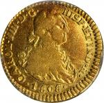 COLOMBIA. Escudo, 1808/7-JF. Popayan Mint. Charles IV (1788-1808). PCGS Genuine--Mount Removed, VF D