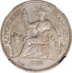 1898-A年坐洋壹圆银币。巴黎造币厂。 FRENCH INDO-CHINA. Piastre, 1898-A. Paris Mint. NGC EF-40.