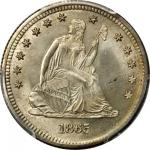 1865 Liberty Seated Quarter. Briggs 1-A. Repunched Date. MS-67+ (PCGS).