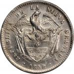 COLOMBIA. 1858/7 Peso. Bogotá mint. Restrepo 198.8. AU-50 (PCGS).
