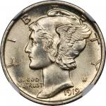 1919-D Mercury Dime. MS-65 FB (NGC).