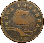 1786 New Jersey copper. Maris 21-R. Rarity-7-. Narrow Shield, Curved Plow Beam. F-12 (PCGS).