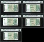 1988年渣打银行10元一组5枚,字轨分别为CT、CQ、CP、CN及CM,相同编号888333,分别评PMG 66EPQ、66EPQ、67EPQ、66EPQ及 65EPQ