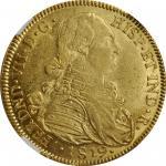 COLOMBIA. 8 Escudos, 1819-NR JF. Nuevo Reino Mint. Ferdinand VII. NGC AU-58.
