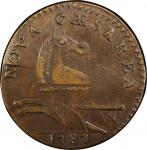 1787 New Jersey copper. Maris 27-S. Rarity-5-. Small Planchet, Plain Shield. AU-50 (PCGS).