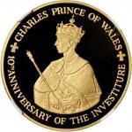 1979年牙买加查理斯王子授衔十週年250元纪念金币,NGC PF69 Ultra Cameo,美品