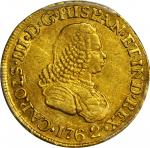 COLOMBIA. 1762-J 2 Escudos. Popayán mint. Carlos III (1759-1788). Restrepo 58.6. AU-55 (PCGS).