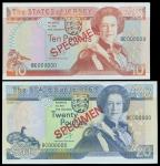 1989年泽西岛10镑及20镑样钞, 分别评PMG67EPQ及66EPQ