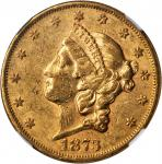 1873 Liberty Head Double Eagle. Open 3. AU-53 (NGC).