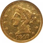 1849 Moffat & Co. $5. K-4a. Rarity-4. AU-53 (NGC).