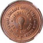 "FRANCE. ""Le Galilee"" Hot Air Ballon Copper Token, 1870. NGC MS-67 Red Brown."