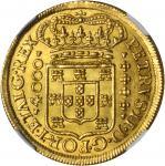 PORTUGAL. 4,000 Reis, 1704. Lisbon Mint. Pedro II (1683-1706). NGC MS-64.