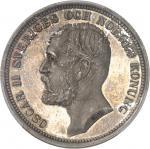 SUÈDE Oscar II (1872-1907). 2 kronor, Flan bruni (PROOF) 1892 EB, Stockholm.