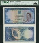 Bank of Rhodesia and Nyasaland, £5, 30 march 1957, serial number Y/2 541184, blue on multicolour und