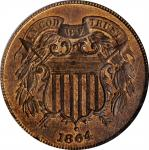1864 Two-Cent Piece. Large Motto. MS-64 RB (NGC).