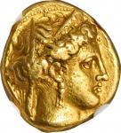 公元前334-332年意大利卡拉布里亚塔伦图姆金币 NGC Ancients Ch VF ITALY. Calabria. Tarentum