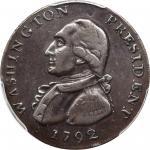 1792 Washington President. Legend Reverse. Musante GW-35, Baker-59, W-10690. Copper. Plain Edge. VF