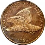 1858 Flying Eagle Cent. Snow-PR1, the only known dies. Large Letters. Proof-65 Cameo (PCGS). Eagle E