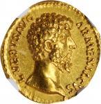 LUCIUS VERUS, A.D. 161-169. AV Aureus (7.21 gms), Rome Mint, A.D. 164. NGC MS, Strike: 5/5 Surface: