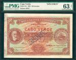 CAPE VERDE. Banco Nacional Ultramarino. 50 Escudos, 1921. P-37s. Specimen. PMG Choice Uncirculated 6