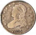 1824/2 Capped Bust Quarter. B-1, the only known dies. Rarity-3. VG-8 (PCGS).