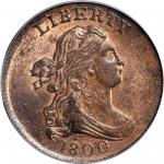 1800 Draped Bust Half Cent. C-1, the only known dies. Rarity-2. MS-63 RB (PCGS). CAC.