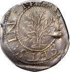 1652 Oak Tree Shilling. Noe-3, Salmon 1-C, W-450. Rarity-6. ANDO. AU-50 (PCGS). CAC.
