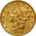 1863 Liberty Head Double Eagle. AU-58 (PCGS).