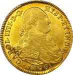 COLOMBIA. 1806-JJ 4 Escudos. Santa Fe de Nuevo Reino (Bogotá) mint. Carlos IV (1788-1808). Restrepo
