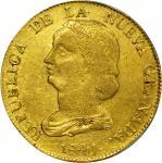 COLOMBIA. 1841-VU 16 Pesos. Popayán mint. Restrepo M212.11. AU-55 (PCGS).