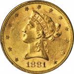 1881-S Liberty Head Eagle. MS-61 (PCGS).