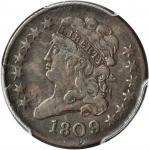1809/6 Classic Head Half Cent. C-5. Rarity-1. 9/Inverted 9. VF-25 (PCGS).