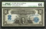 Fr. 253. 1899 $2 Silver Certificate. PMG Gem Uncirculated 66 EPQ.