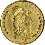 1806 Capped Bust Right Half Eagle. BD-6. Rarity-2. Round-Top 6, Stars 7x6. AU Details--Cleaning (PCG