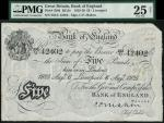 Bank of England, C.P. Mahon, £5, Liverpool 6 August 1925, serial number 252U 42402, black and white,