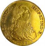 SPAIN. Falsa Época. Gilt Platinum Contemporary Counterfeit 8 Escudos, 1796-M FA. Uncertain Local Min