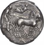 SICILY. Syracuse. Second Democracy, 466-406 B.C. AR Tetradrachm (17.01 gms), ca. 450-440 B.C. NGC Ch
