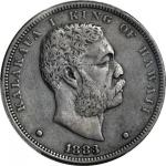 1883 Hawaii Dollar. Medcalf-Russell 2CS-5. VF Details--Environmental Damage (PCGS).