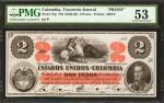 COLOMBIA. Estados Unidos de Colombia. 2 Pesos, 186_. P-75p. Proof.
