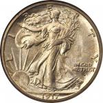 1917-S Walking Liberty Half Dollar. Obverse Mintmark. MS-65 (NGC). CAC.