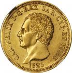ITALY. Sardinia. 80 Lire, 1825-L (Eagle Head Mintmark). NGC AU-58.