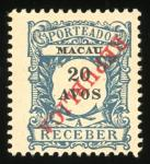 Macau  Stamps 1914 Postage Due local ovpt. REPUBLICA 4a (2), 5a, 8a, 12a and 20a with ovpt. inverte