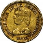 COLOMBIA. 1846-UM 2 Pesos. Popayán mint. Restrepo 202.15. AU-50 (PCGS).