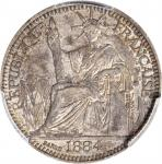 1884-A年10分。巴黎造币厂。 FRENCH COCHIN CHINA. 10 Centimes, 1884-A. Paris Mint. PCGS MS-62.