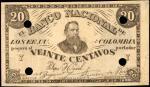 COLOMBIA. Banco Nacional de los Estados Unidos de Colombia. 20 Centavos. ND (1885?). P-Unlisted.