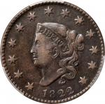1822 Matron Head Cent. N-9. Rarity-5-. EF-40 (PCGS).