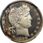 1898 Barber Quarter. Proof-68 Ultra Cameo (NGC).