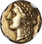SICILY. Syracuse. Agathocles, 317-289 B.C. EL 50 Litrae (3.63 gms), ca. 310-305 B.C. NGC Ch AU*, Str